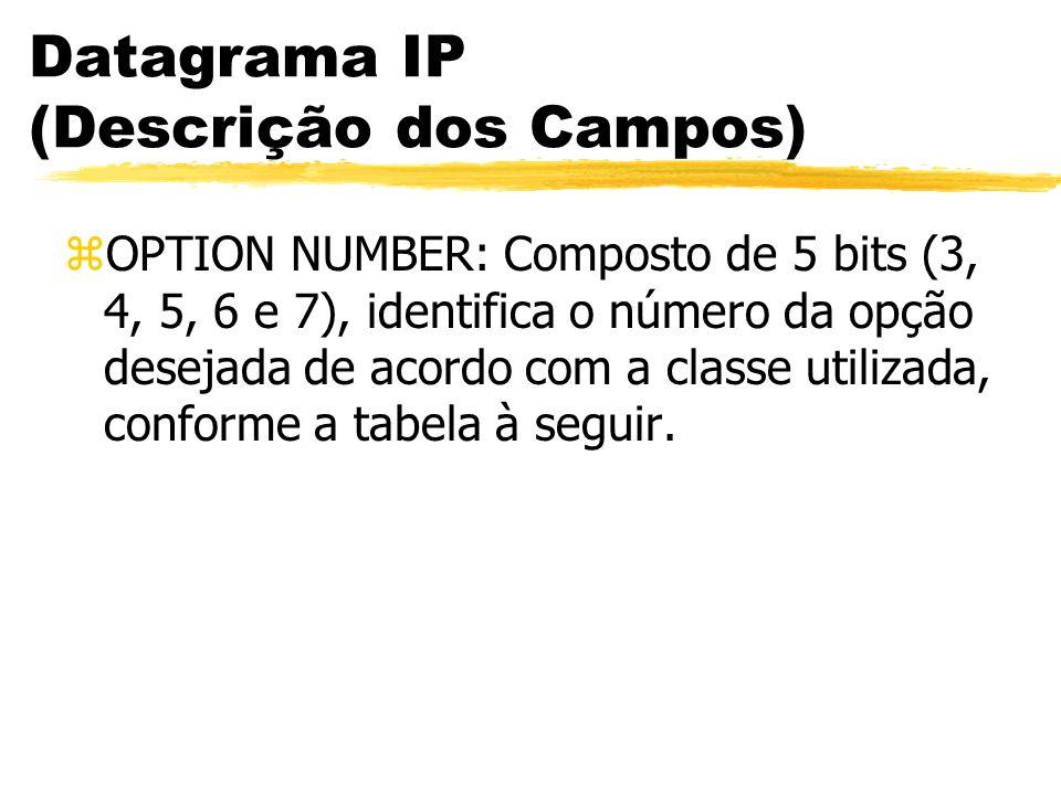 Datagrama IP (Descrição dos Campos) zOPTION NUMBER: Composto de 5 bits (3, 4, 5, 6 e 7), identifica o número da opção desejada de acordo com a classe