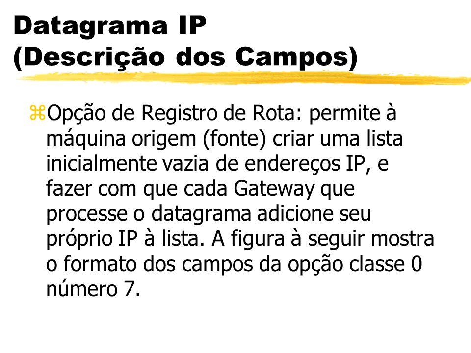 Datagrama IP (Descrição dos Campos) zOpção de Registro de Rota: permite à máquina origem (fonte) criar uma lista inicialmente vazia de endereços IP, e fazer com que cada Gateway que processe o datagrama adicione seu próprio IP à lista.
