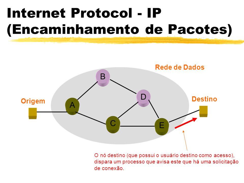 Internet Protocol - IP (Encaminhamento de Pacotes) A B C D E Origem Destino Rede de Dados O nó destino (que possui o usuário destino como acesso), dispara um processo que avisa este que há uma solicitação de conexão.