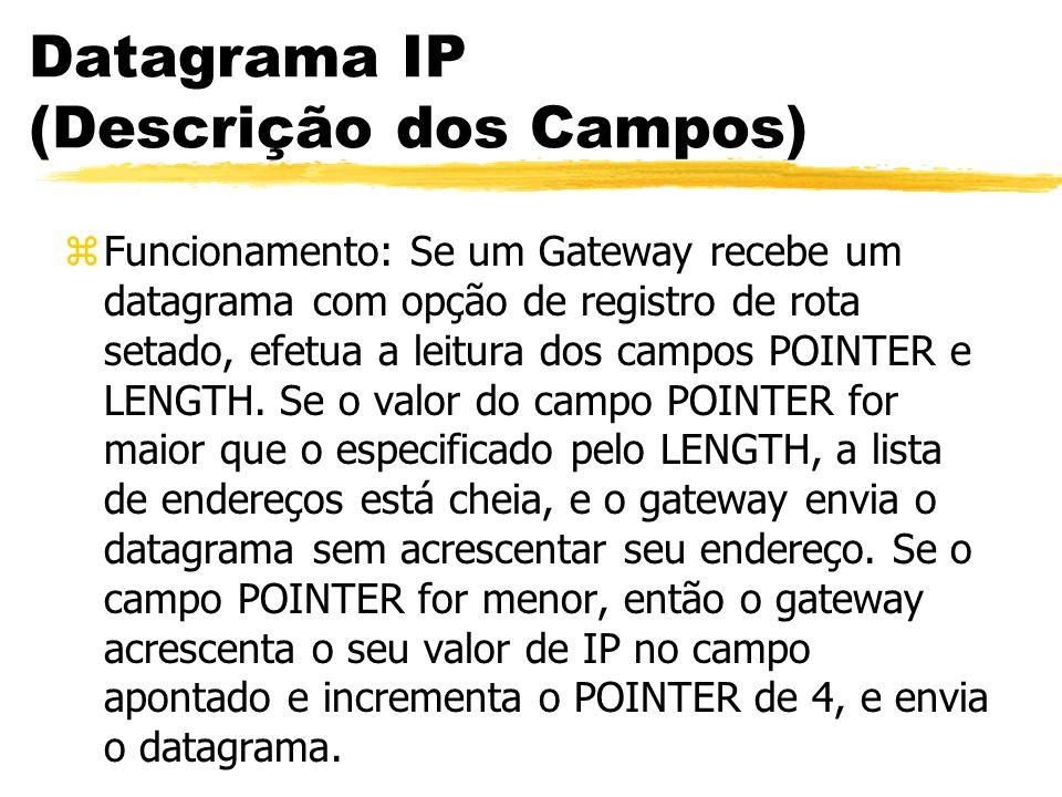 Datagrama IP (Descrição dos Campos) zFuncionamento: Se um Gateway recebe um datagrama com opção de registro de rota setado, efetua a leitura dos campos POINTER e LENGTH.