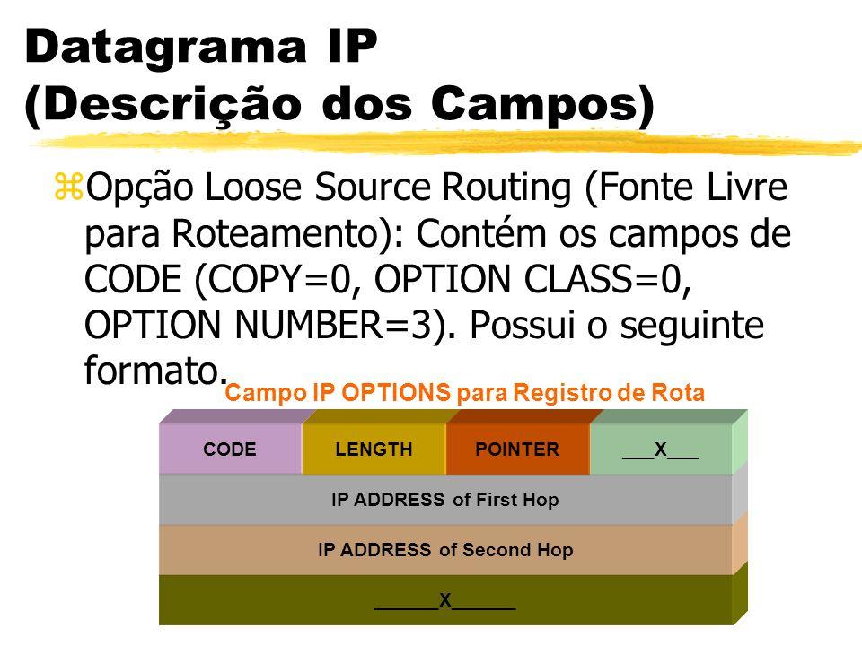 Datagrama IP (Descrição dos Campos) zOpção Loose Source Routing (Fonte Livre para Roteamento): Contém os campos de CODE (COPY=0, OPTION CLASS=0, OPTION NUMBER=3).