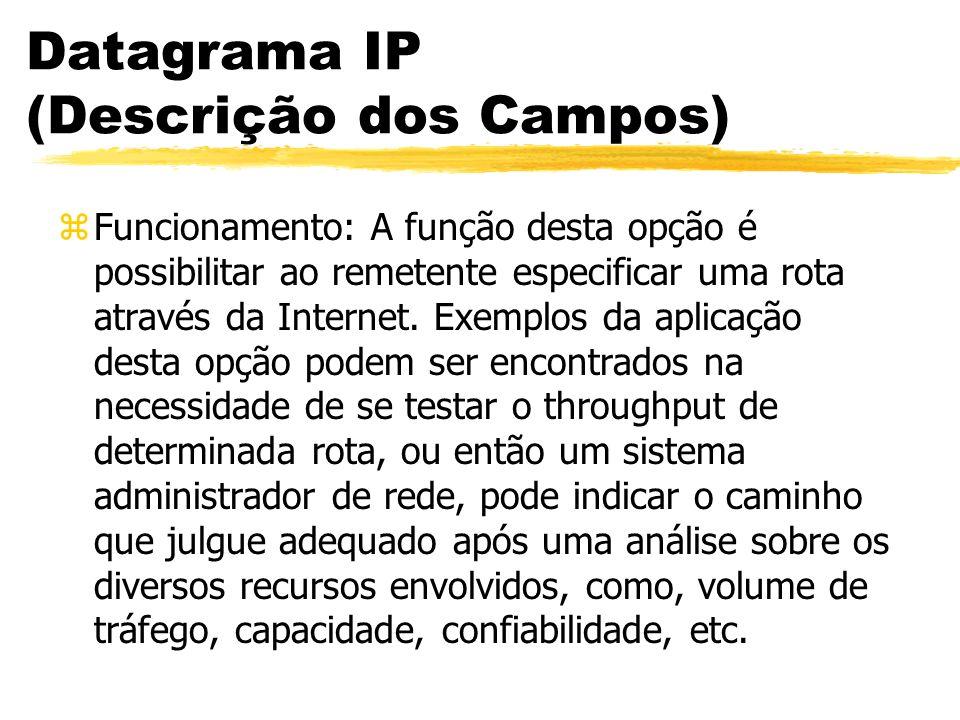 Datagrama IP (Descrição dos Campos) zFuncionamento: A função desta opção é possibilitar ao remetente especificar uma rota através da Internet. Exemplo