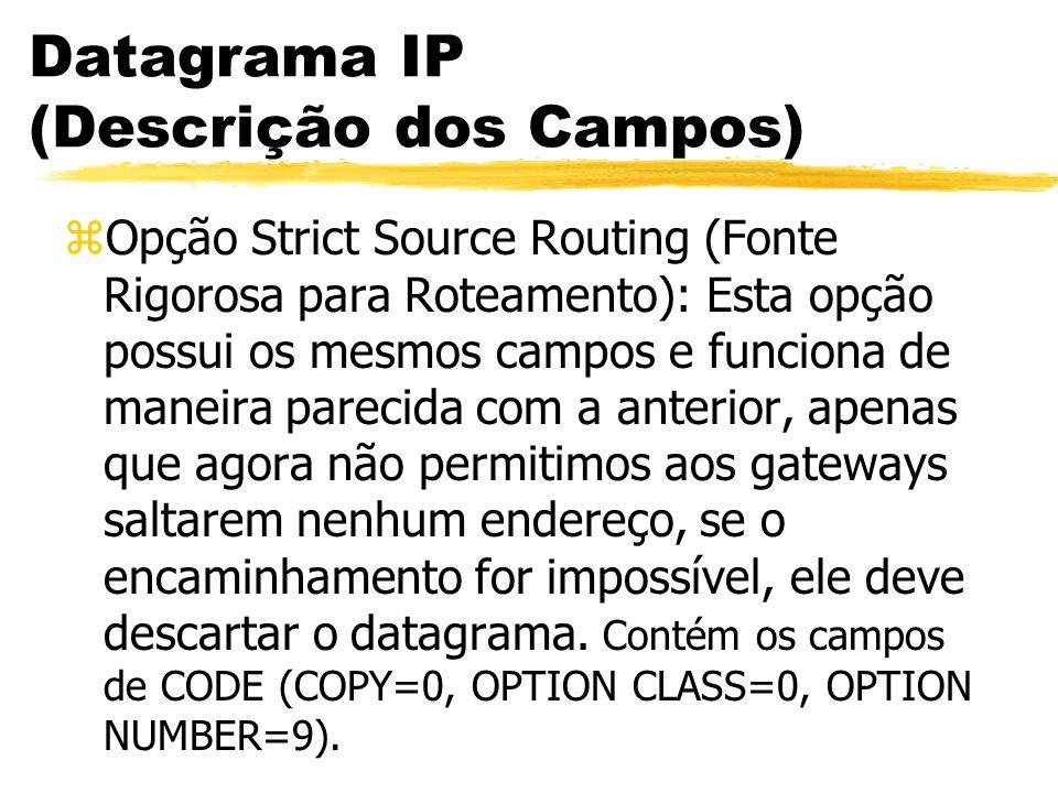 Datagrama IP (Descrição dos Campos) zOpção Strict Source Routing (Fonte Rigorosa para Roteamento): Esta opção possui os mesmos campos e funciona de ma