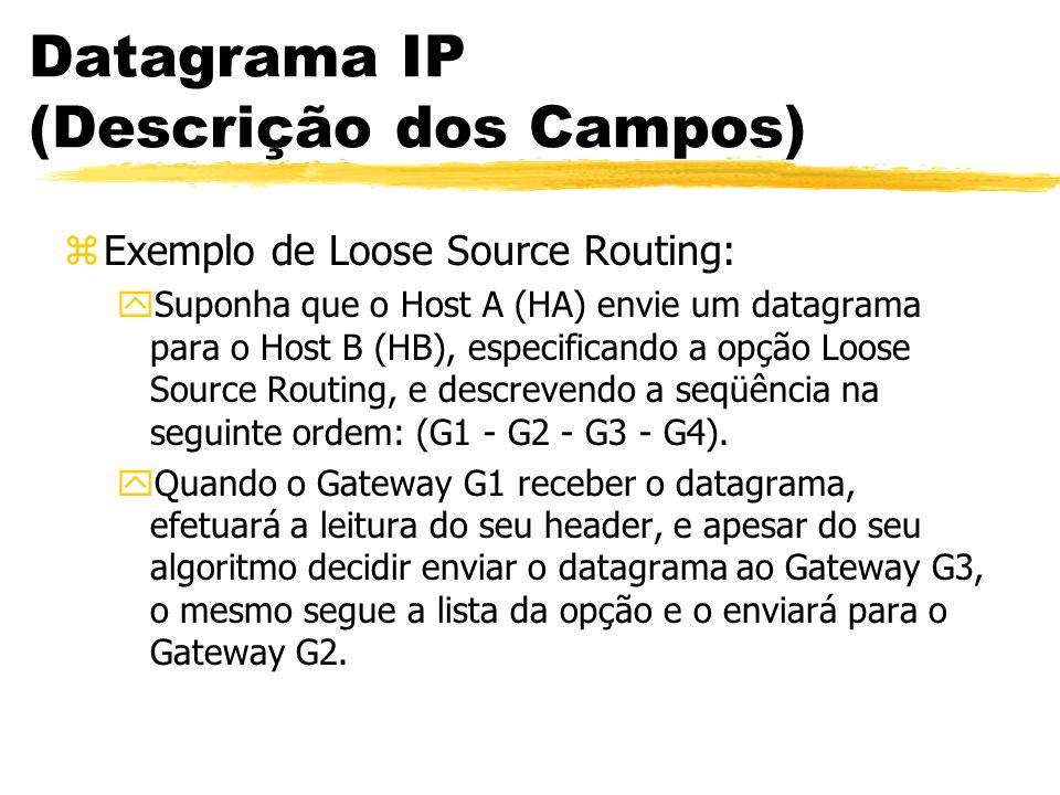 Datagrama IP (Descrição dos Campos) zExemplo de Loose Source Routing: ySuponha que o Host A (HA) envie um datagrama para o Host B (HB), especificando a opção Loose Source Routing, e descrevendo a seqüência na seguinte ordem: (G1 - G2 - G3 - G4).