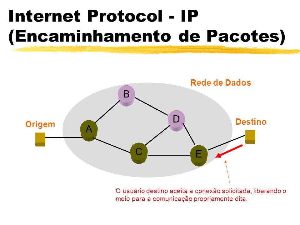 Internet Protocol - IP (Encaminhamento de Pacotes) A B C D E Origem Destino Rede de Dados O usuário destino aceita a conexão solicitada, liberando o meio para a comunicação propriamente dita.