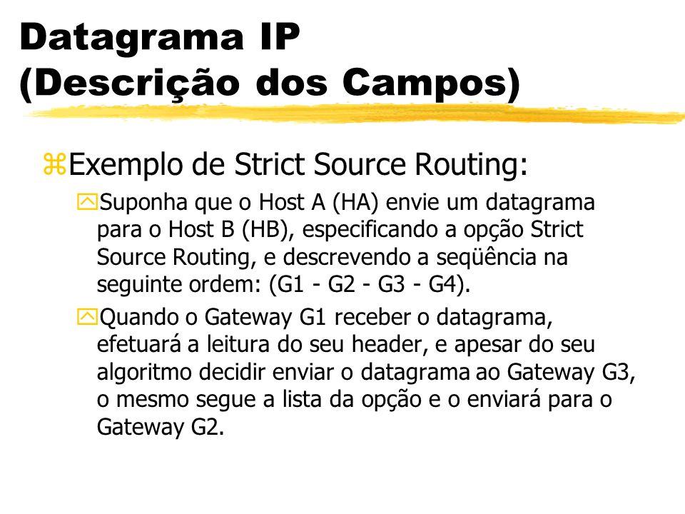 Datagrama IP (Descrição dos Campos) zExemplo de Strict Source Routing: ySuponha que o Host A (HA) envie um datagrama para o Host B (HB), especificando a opção Strict Source Routing, e descrevendo a seqüência na seguinte ordem: (G1 - G2 - G3 - G4).
