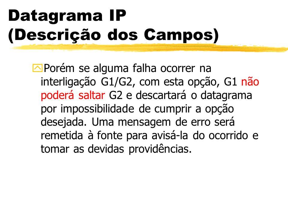 Datagrama IP (Descrição dos Campos) yPorém se alguma falha ocorrer na interligação G1/G2, com esta opção, G1 não poderá saltar G2 e descartará o datagrama por impossibilidade de cumprir a opção desejada.