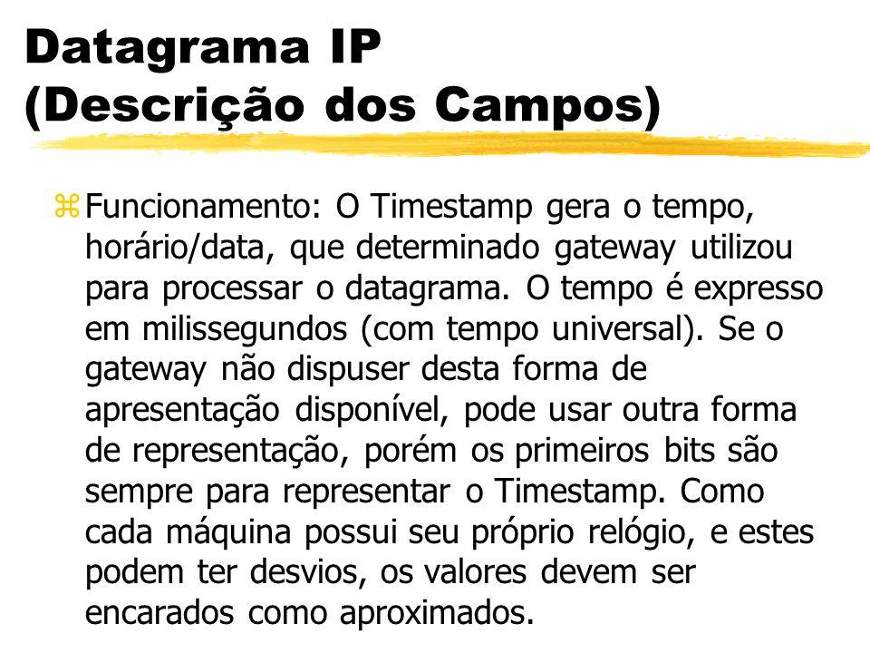 Datagrama IP (Descrição dos Campos) zFuncionamento: O Timestamp gera o tempo, horário/data, que determinado gateway utilizou para processar o datagrama.