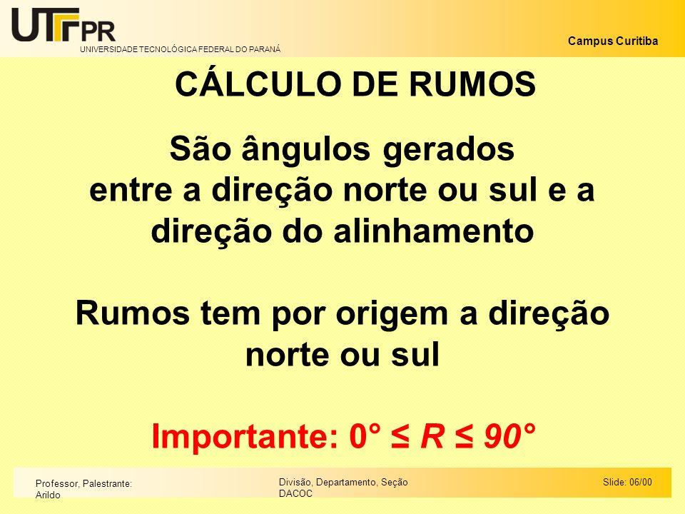 UNIVERSIDADE TECNOLÓGICA FEDERAL DO PARANÁ Campus Curitiba Slide: 06/00Divisão, Departamento, Seção DACOC Professor, Palestrante: Arildo CÁLCULO DE RU