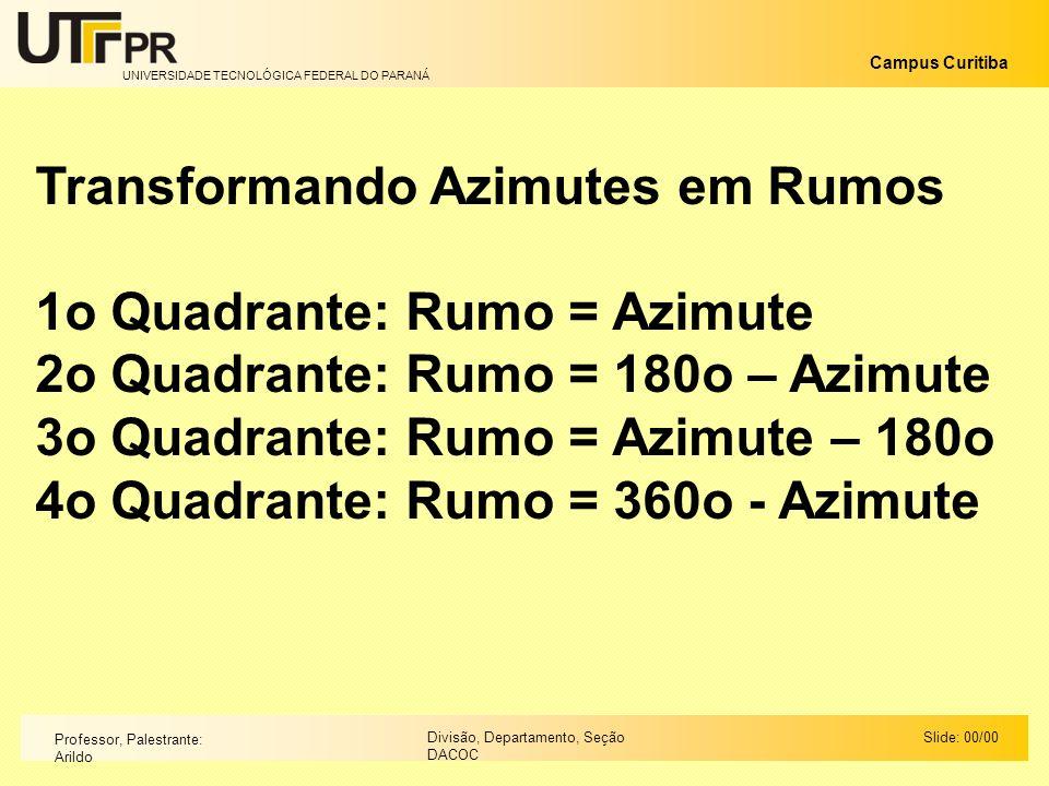 UNIVERSIDADE TECNOLÓGICA FEDERAL DO PARANÁ Campus Curitiba Slide: 00/00Divisão, Departamento, Seção DACOC Professor, Palestrante: Arildo Transformando