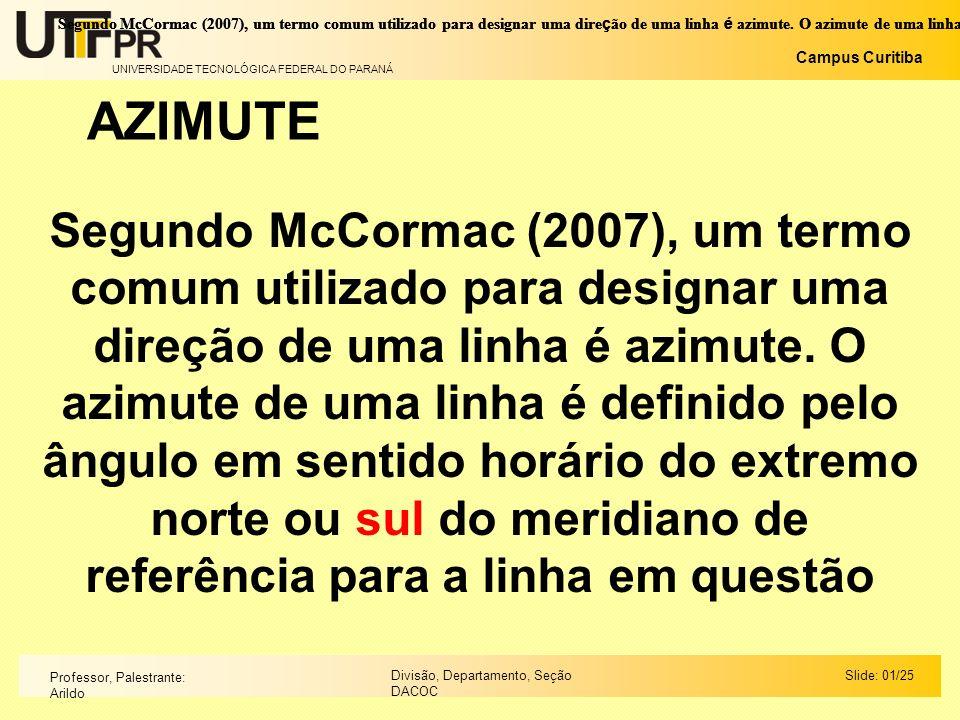 UNIVERSIDADE TECNOLÓGICA FEDERAL DO PARANÁ Campus Curitiba Slide: 01/25Divisão, Departamento, Seção DACOC Professor, Palestrante: Arildo Segundo McCor