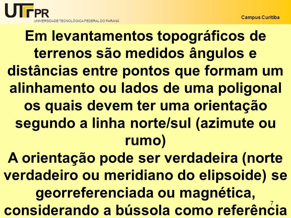 UNIVERSIDADE TECNOLÓGICA FEDERAL DO PARANÁ Campus Curitiba 7 Em levantamentos topográficos de terrenos são medidos ângulos e distâncias entre pontos q