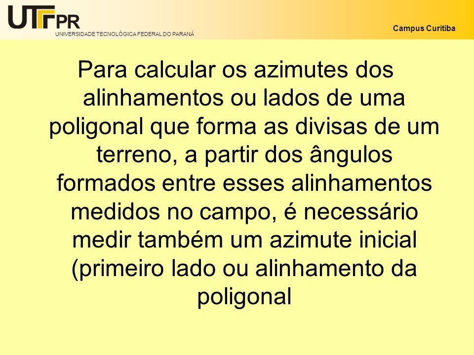 UNIVERSIDADE TECNOLÓGICA FEDERAL DO PARANÁ Campus Curitiba Para calcular os azimutes dos alinhamentos ou lados de uma poligonal que forma as divisas d