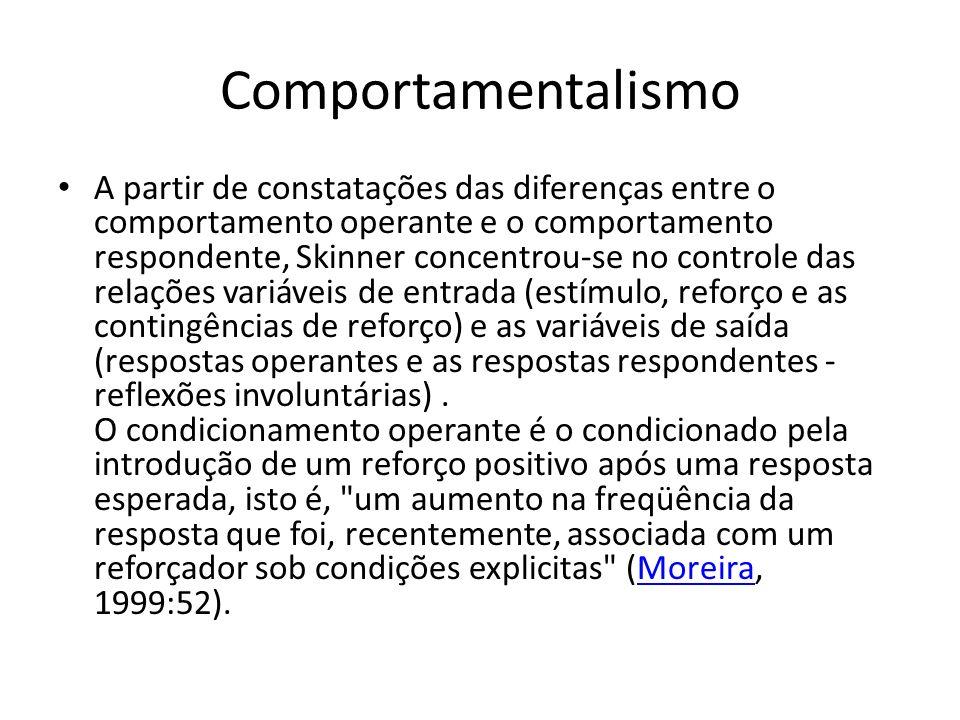 Comportamentalismo A partir de constatações das diferenças entre o comportamento operante e o comportamento respondente, Skinner concentrou-se no controle das relações variáveis de entrada (estímulo, reforço e as contingências de reforço) e as variáveis de saída (respostas operantes e as respostas respondentes - reflexões involuntárias).