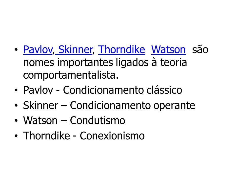 Pavlov, Skinner, Thorndike Watson são nomes importantes ligados à teoria comportamentalista.