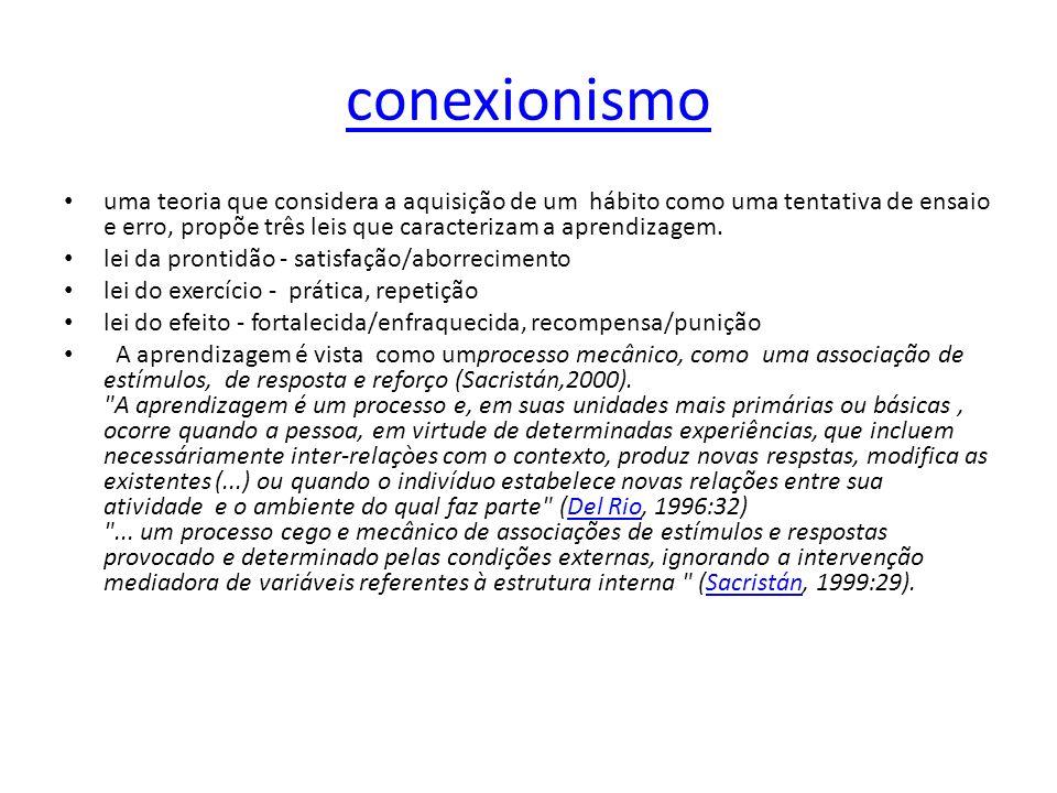 conexionismo uma teoria que considera a aquisição de um hábito como uma tentativa de ensaio e erro, propõe três leis que caracterizam a aprendizagem.