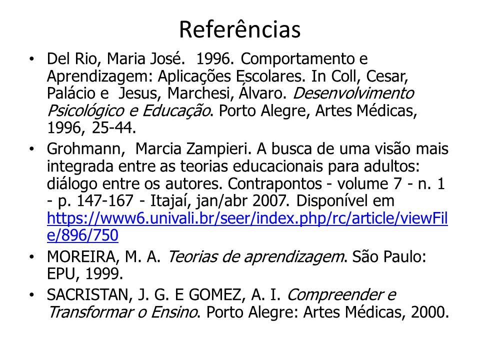 Referências Del Rio, Maria José. 1996. Comportamento e Aprendizagem: Aplicações Escolares. In Coll, Cesar, Palácio e Jesus, Marchesi, Álvaro. Desenvol