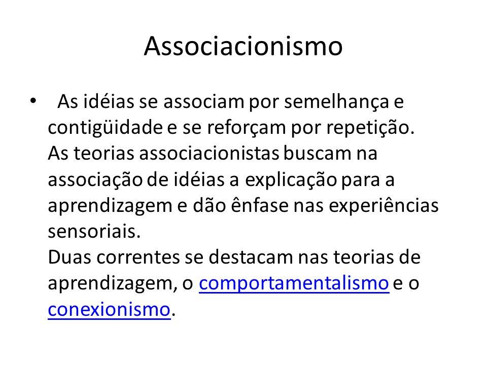 Associacionismo As idéias se associam por semelhança e contigüidade e se reforçam por repetição. As teorias associacionistas buscam na associação de i
