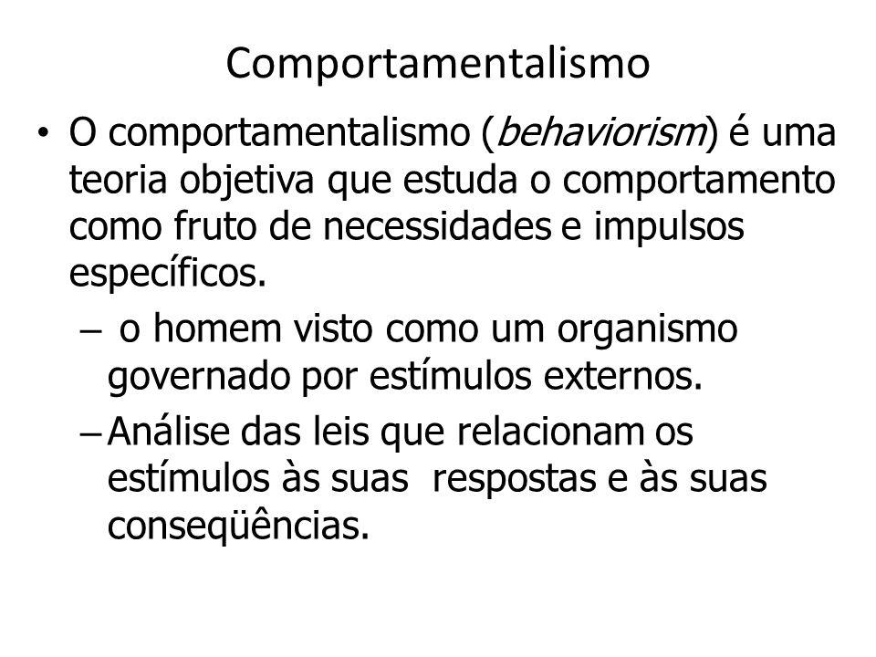 Comportamentalismo O comportamentalismo (behaviorism) é uma teoria objetiva que estuda o comportamento como fruto de necessidades e impulsos específicos.