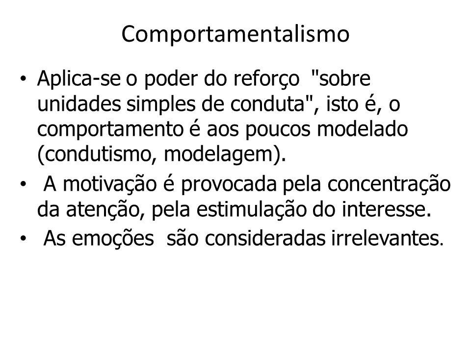 Comportamentalismo Aplica-se o poder do reforço sobre unidades simples de conduta , isto é, o comportamento é aos poucos modelado (condutismo, modelagem).