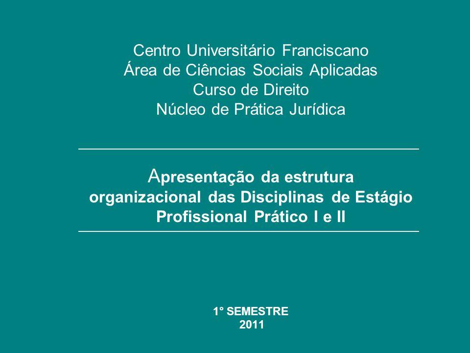 Apresentação da estrutura organizacional das Disciplinas de Estágio Profissional Prático I e II - Regulamento do Núcleo de Prática Jurídica Art.
