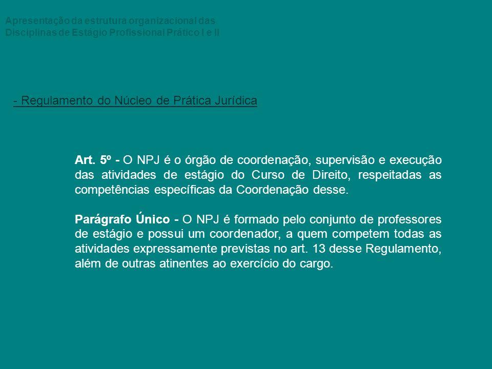 Apresentação da estrutura organizacional das Disciplinas de Estágio Profissional Prático I e II - Regulamento do Núcleo de Prática Jurídica Art. 5º -