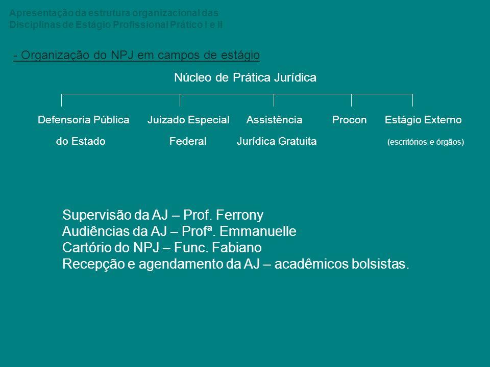 Apresentação da estrutura organizacional das Disciplinas de Estágio Profissional Prático I e II - Organização do NPJ em campos de estágio Núcleo de Pr