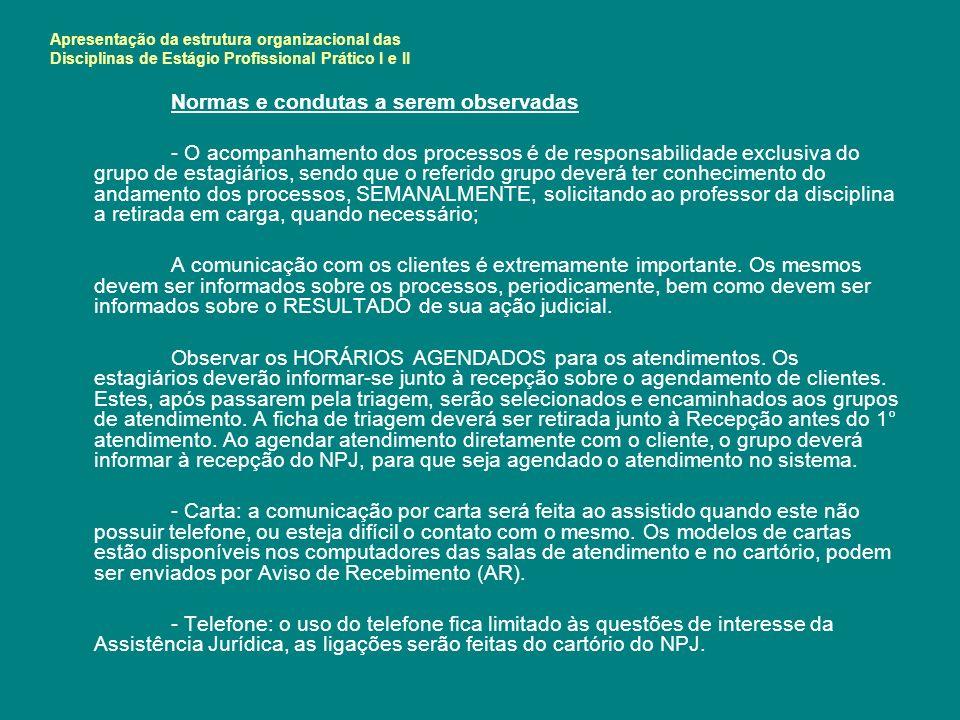 Apresentação da estrutura organizacional das Disciplinas de Estágio Profissional Prático I e II Normas e condutas a serem observadas - O acompanhament