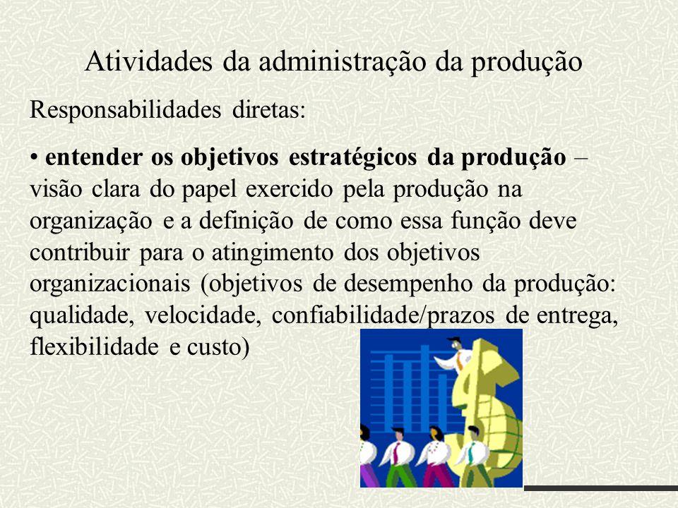 Responsabilidades diretas: entender os objetivos estratégicos da produção – visão clara do papel exercido pela produção na organização e a definição d