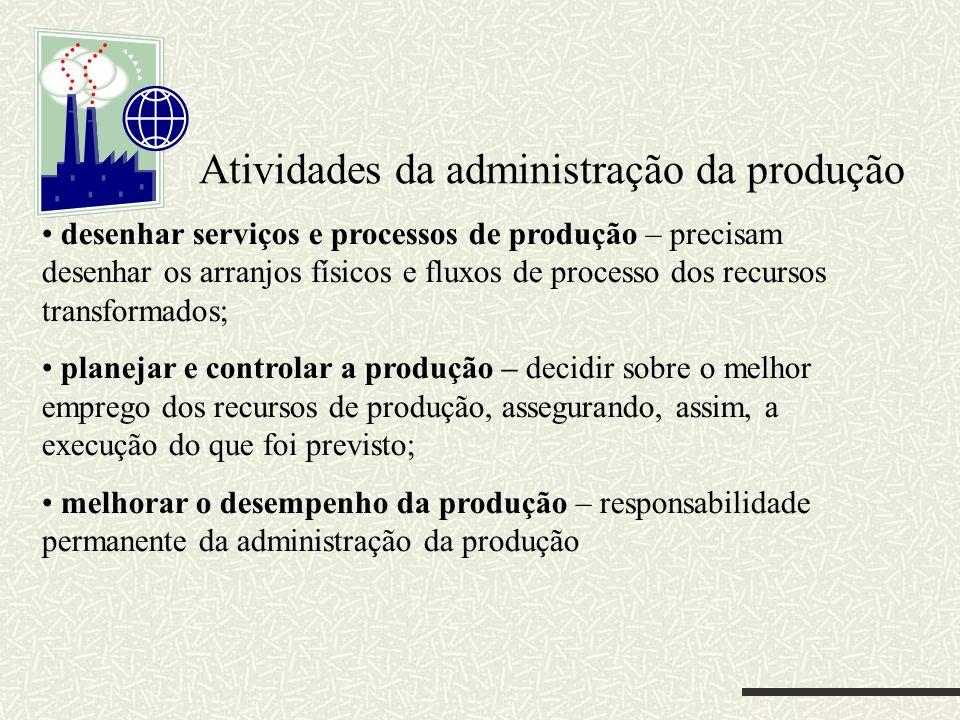 Atividades da administração da produção desenhar serviços e processos de produção – precisam desenhar os arranjos físicos e fluxos de processo dos rec
