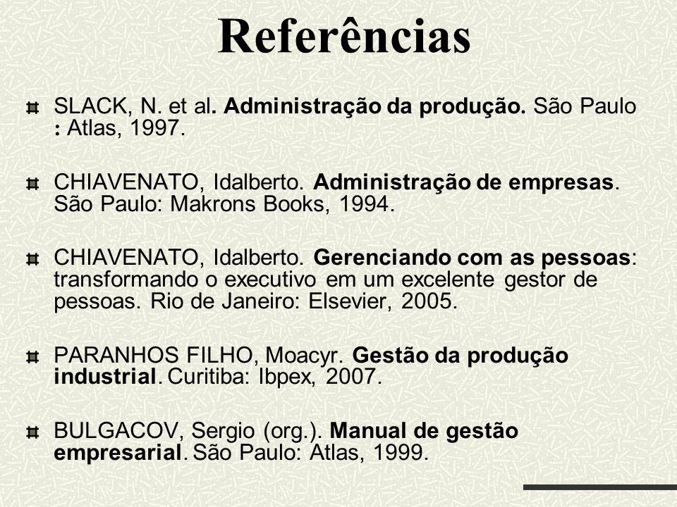 Referências SLACK, N. et al. Administração da produção. São Paulo : Atlas, 1997. CHIAVENATO, Idalberto. Administração de empresas. São Paulo: Makrons