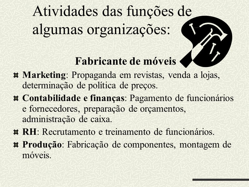 Atividades das funções de algumas organizações: Fabricante de móveis Marketing: Propaganda em revistas, venda a lojas, determinação de política de pre
