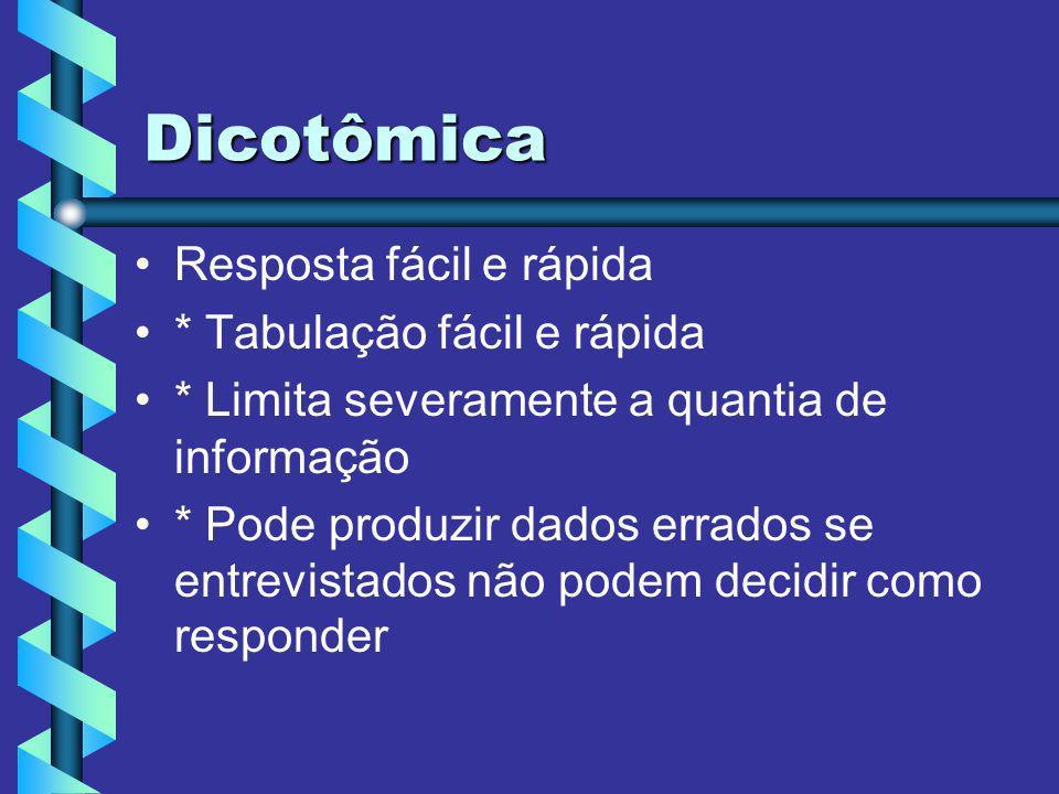 Dicotômica Resposta fácil e rápida * Tabulação fácil e rápida * Limita severamente a quantia de informação * Pode produzir dados errados se entrevista