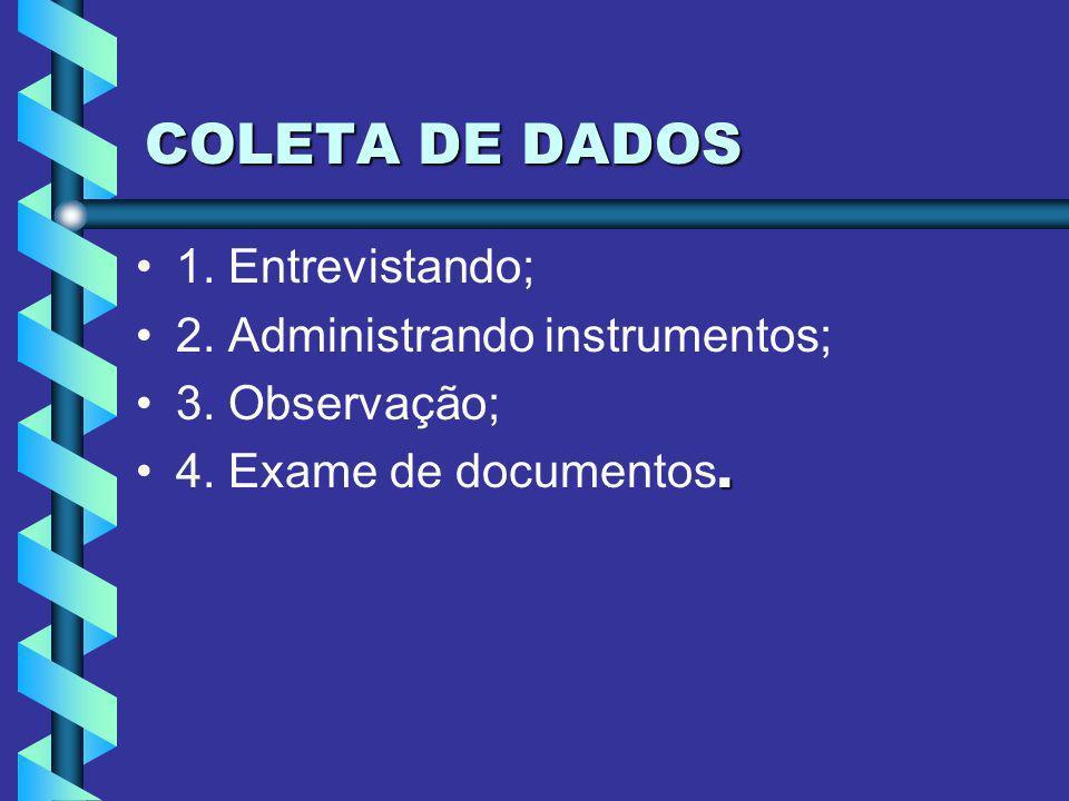 COLETA DE DADOS 1. Entrevistando; 2. Administrando instrumentos; 3. Observação;.4. Exame de documentos.