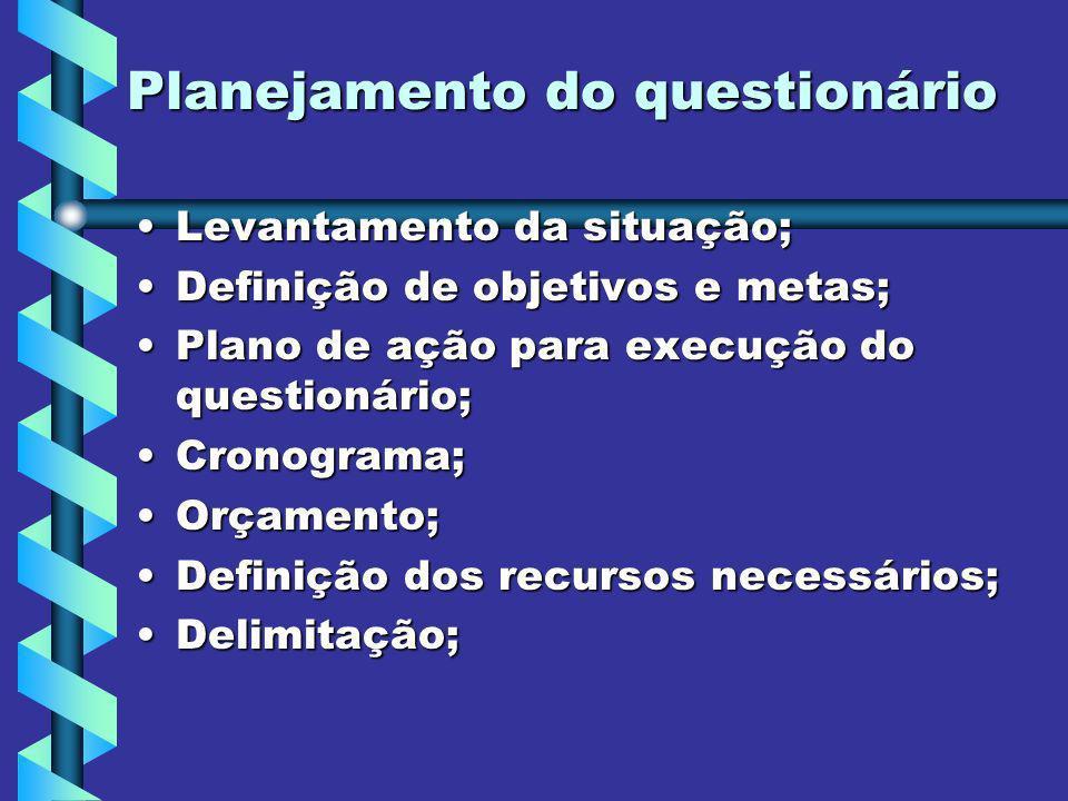 Planejamento do questionário Levantamento da situação;Levantamento da situação; Definição de objetivos e metas;Definição de objetivos e metas; Plano d