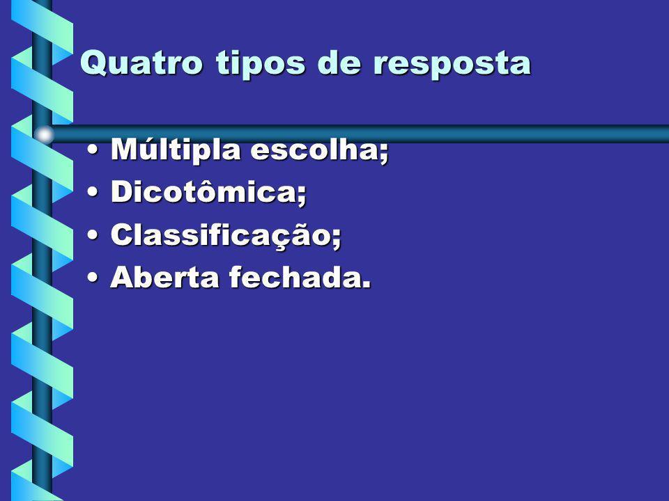 Quatro tipos de resposta Múltipla escolha;Múltipla escolha; Dicotômica;Dicotômica; Classificação;Classificação; Aberta fechada.Aberta fechada.