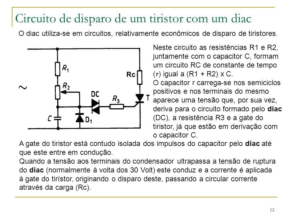 13 Circuito de disparo de um tiristor com um diac O diac utiliza-se em circuitos, relativamente econômicos de disparo de tiristores. Neste circuito as