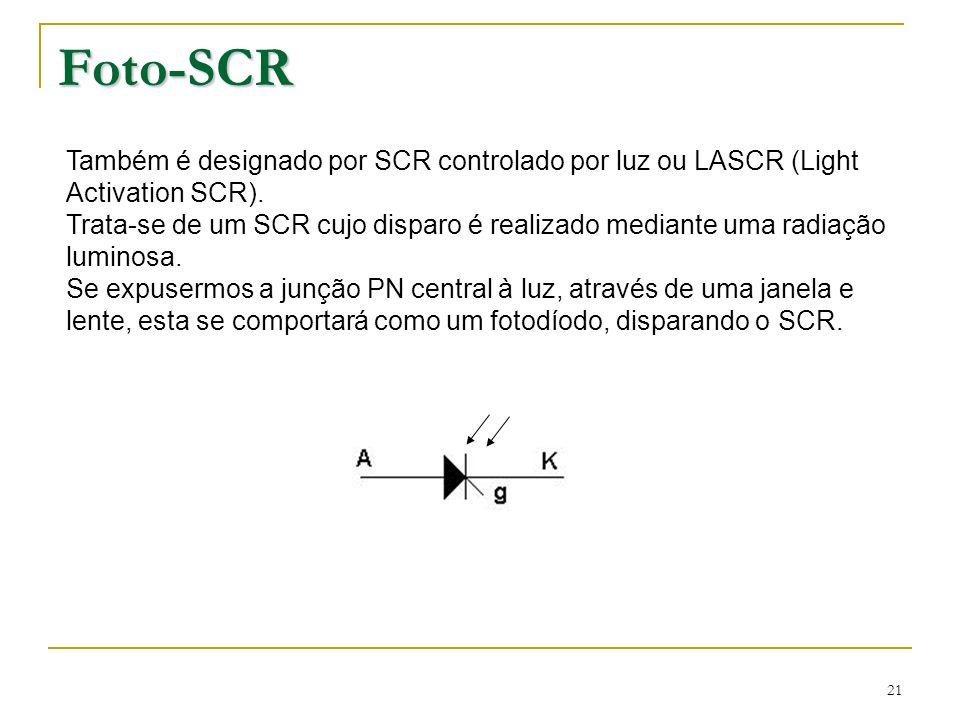 21 Foto-SCR Também é designado por SCR controlado por luz ou LASCR (Light Activation SCR). Trata-se de um SCR cujo disparo é realizado mediante uma ra