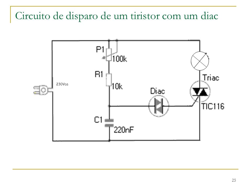 Circuito de disparo de um tiristor com um diac 25 230Vca