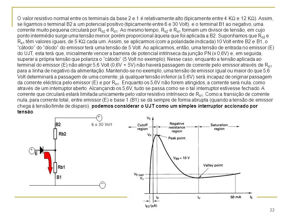 33 + 6 a 30 Volt _ + O valor resistivo normal entre os terminais da base 2 e 1 é relativamente alto (tipicamente entre 4 K e 12 K ). Assim, se ligarmo