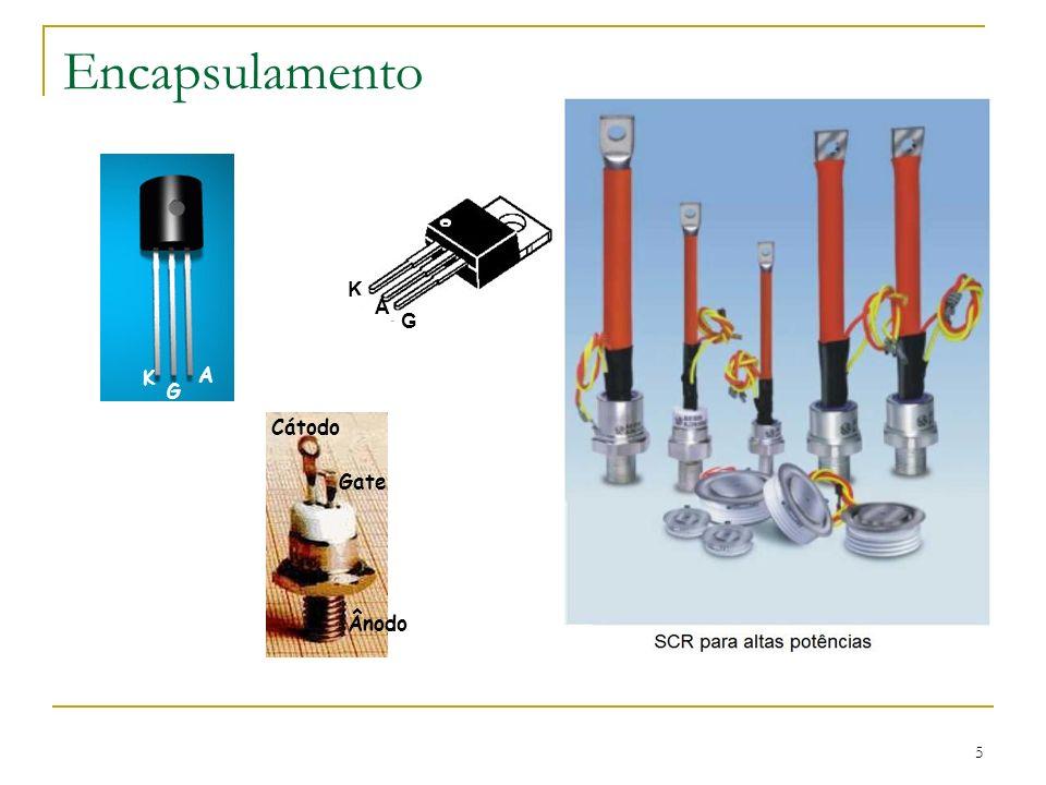 16 Na prática não se aplica ao tiristor uma tensão tão alta como VRO, pois isso pode danificar o dispositivo.