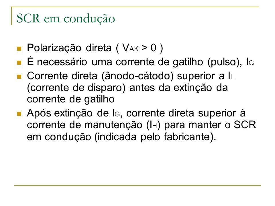 SCR em condução Polarização direta ( V AK > 0 ) É necessário uma corrente de gatilho (pulso), I G Corrente direta (ânodo-cátodo) superior a I L (corre