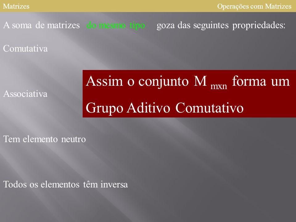 MatrizesOperações com Matrizes goza das seguintes propriedades: Comutativa Associativa Tem elemento neutro Todos os elementos têm inversa A soma de matrizesdo mesmo tipo Assim o conjunto M mxn forma um Grupo Aditivo Comutativo