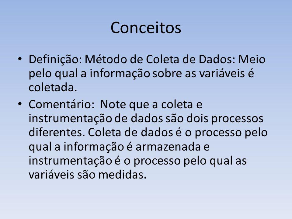 Conceitos Definição: Método de Coleta de Dados: Meio pelo qual a informação sobre as variáveis é coletada. Comentário: Note que a coleta e instrumenta