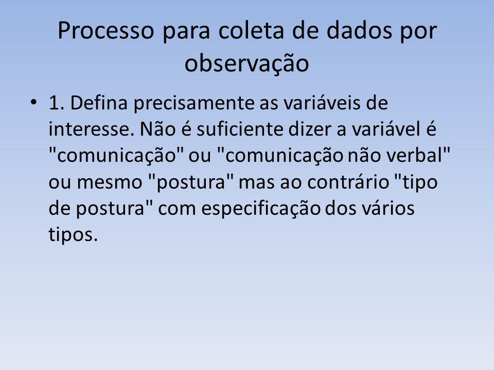 Processo para coleta de dados por observação 1. Defina precisamente as variáveis de interesse. Não é suficiente dizer a variável é