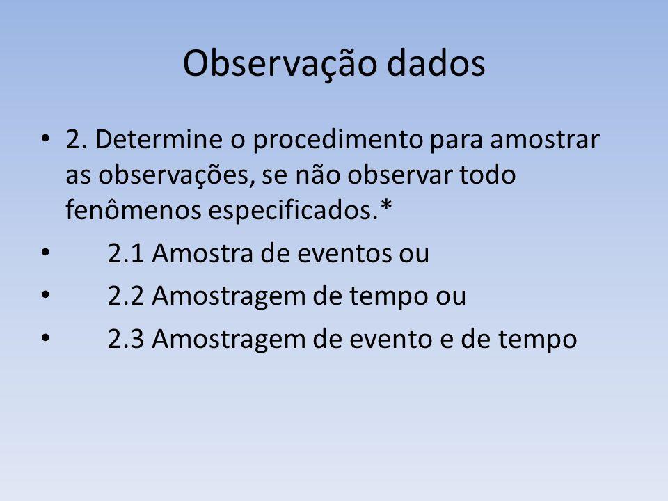 Observação dados 2. Determine o procedimento para amostrar as observações, se não observar todo fenômenos especificados.* 2.1 Amostra de eventos ou 2.