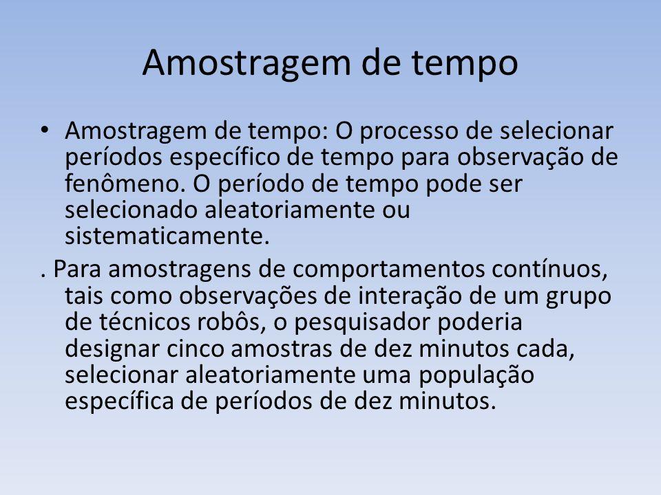 Amostragem de tempo Amostragem de tempo: O processo de selecionar períodos específico de tempo para observação de fenômeno. O período de tempo pode se