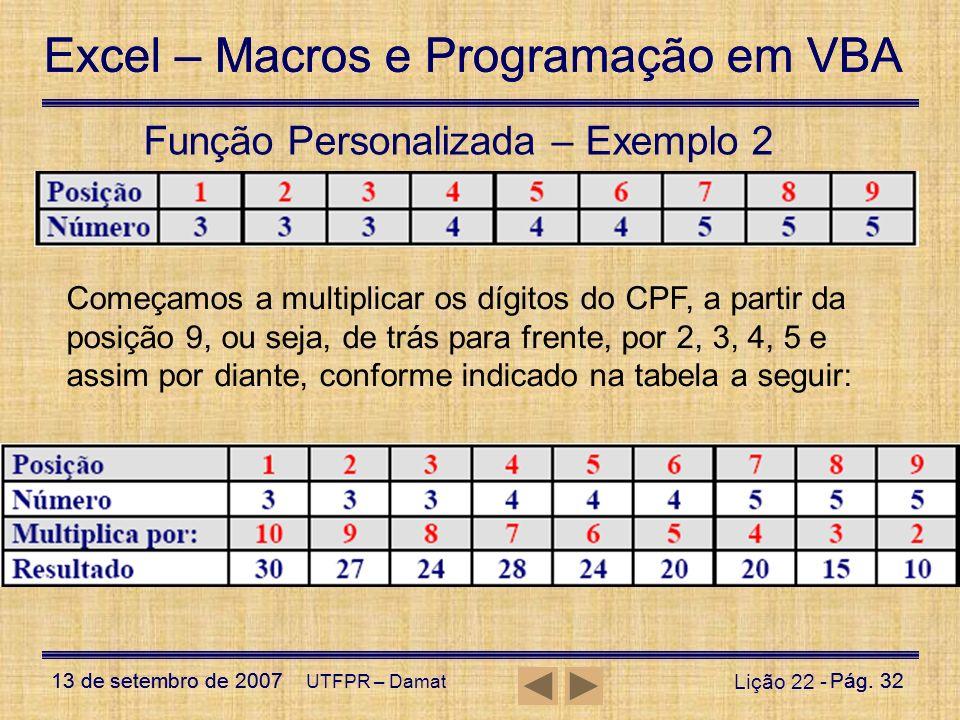 Excel – Macros e Programação em VBA 13 de setembro de 2007Pág. 32 Excel – Macros e Programação em VBA 13 de setembro de 2007Pág. 32 UTFPR – Damat Liçã