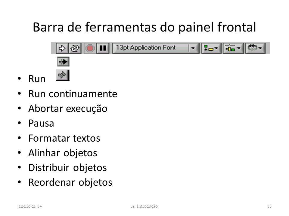 Barra de ferramentas do painel frontal Run Run continuamente Abortar execução Pausa Formatar textos Alinhar objetos Distribuir objetos Reordenar objet