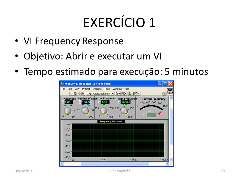 EXERCÍCIO 1 VI Frequency Response Objetivo: Abrir e executar um VI Tempo estimado para execução: 5 minutos janeiro de 14 A. Introdução 20